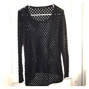 Rock& Republic 1x Black netted long sleeve top